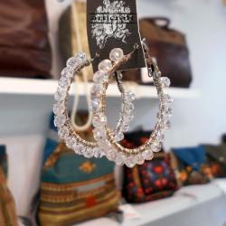 Σκουλαρίκια κρεμαστά με διάφανες χάντρες (E286)