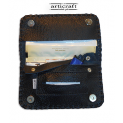 Leather tobacco pouch large size black (Α384)