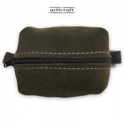 Olive green suede leather necessaire(Α424)
