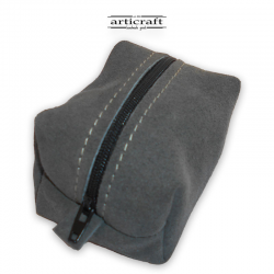Grey suede leather necessaire(Α426)