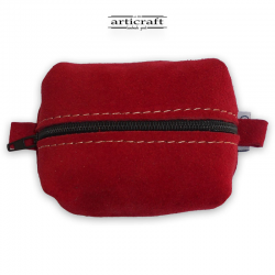 Red suede leather necessaire(Α427)