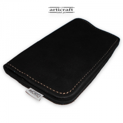 Leather tobacco pouch medium size black (Α438)