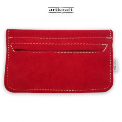 Leather tobacco pouch medium size red (Α439)