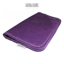 Leather tobacco pouch medium size purple (Α441)