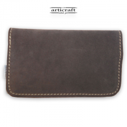 Leather tobacco pouch medium size grey (Α442)