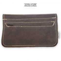 Leather tobacco pouch medium size grey (Α442)