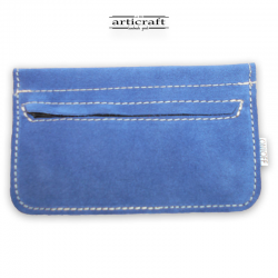 Leather tobacco pouch medium size blue (Α444)