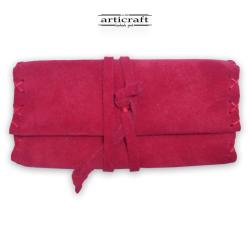 Καπνοθήκη καστόρινη πλεκτή τρίπτυχη κόκκινη (Α457)