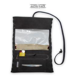 Καπνοθήκη καστόρινη πλεκτή τρίπτυχη γκρι (Α462)