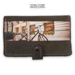 """Γυναικείο πορτοφόλι καστόρι λαδί """"Ποδήλατο"""" (Α504)"""