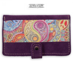 "Leather suede purple wallet ""Yin Yang"" (Α512)"