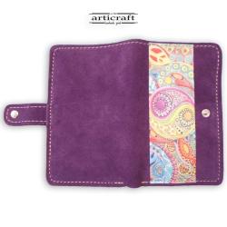 "Leather suede purple wallet ""Yin Yang"" (Α512)"