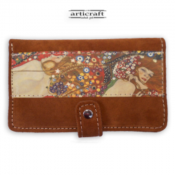 "Leather suede wallet ""Water Serpents Klimt"" (Α513)"