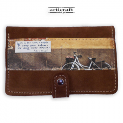 "Leather suede brown wallet ""Bicycle"" (Α514)"