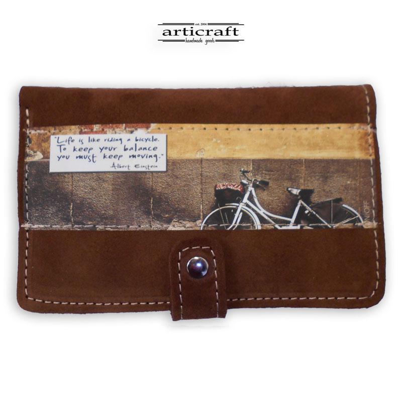 """Πορτοφόλι καστόρι καφέ """"Ποδήλατο"""" (Α514)"""