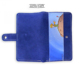 "Leather suede blue wallet ""Little Prince"" (Α515)"