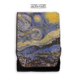 """Δερμάτινη θήκη για τσιγάρα """"Van Gogh - Starry Night"""" (A524)"""