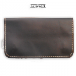 Leather tobacco pouch medium size black (Α602)