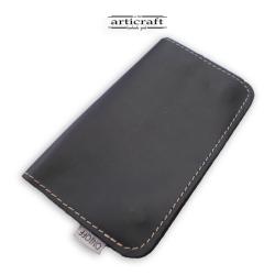 Leather tobacco pouch medium size black (Α602)