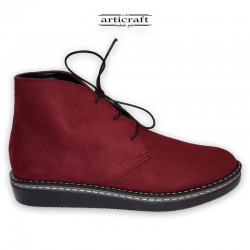 Handmade leather red boots (Κ034)