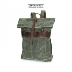 Waxed canvas and leather backpack (T034)
