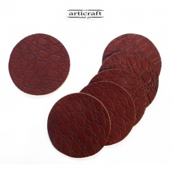 Leather coasters set red (Α741)