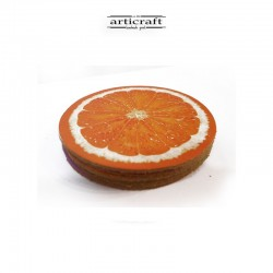 "Leather coasters set ""Orange"" (Α742)"