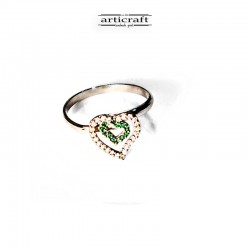 Silver ring green heart (Ε151)