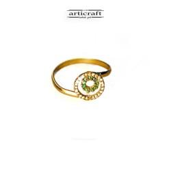 Ασημένιο δαχτυλίδι πράσινο κύκλοι (Ε155)