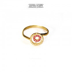 Ασημένιο δαχτυλίδι φουξια κύκλοι (Ε157)