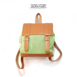 Leather green backpack (T087)