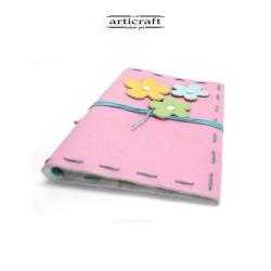 Χειροποίητο δερμάτινο σημειωματάριο ροζ (G018)