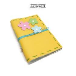 Χειροποίητο δερμάτινο σημειωματάριο κίτρινο (G019)