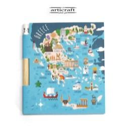 """Σημειωματάριο με μολύβι """"Χάρτης Ελλάδα"""" (G026)"""