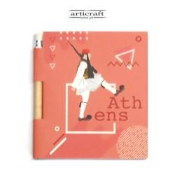 """Σημειωματάριο με μολύβι """"Τσολιάς - Athens"""" (G027)"""
