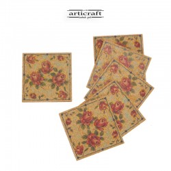 "Cork coasters set ""Flowers""..."