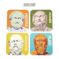 """Σετ σουβέρ εκτύπωση """"Φιλόσοφοι"""" (G055)"""