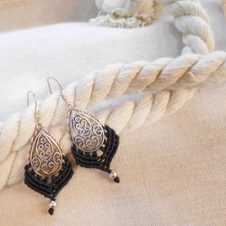 Makrame Earrings Black (AR088)