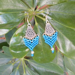 Makrame Earrings Blue (AR089)