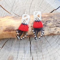 Makrame Earrings Red (AR092)