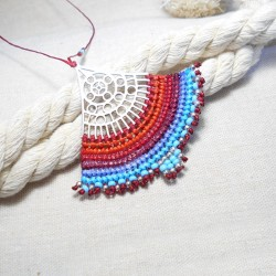 \Makrame Necklace big, Blue...