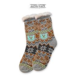 Κάλτσες - Παντόφλες με Επένδυση Γούνα και Αντιολισθητικό Πάτο (G076)