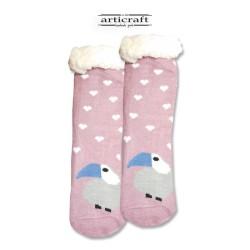 Κάλτσες - Παντόφλες με Επένδυση Γούνα και Αντιολισθητικό Πάτο (G103)