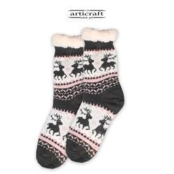 Κάλτσες - Παντόφλες με Επένδυση Γούνα και Αντιολισθητικό Πάτο (G173)