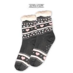 Κάλτσες - Παντόφλες με Επένδυση Γούνα και Αντιολισθητικό Πάτο (G177)