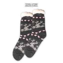 Κάλτσες - Παντόφλες με Επένδυση Γούνα και Αντιολισθητικό Πάτο (G178)