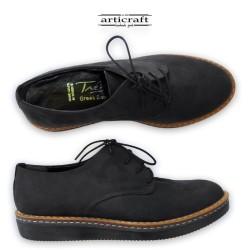Δετό δερμάτινο παπούτσι μαύρο (K037)