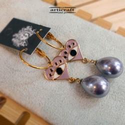 Σκουλαρίκια κρεμαστά ροζ (E277)
